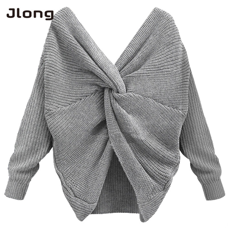 New Women Autumn And Winter Casual Fashion Solid Sweaters Female Warm Long Sleeve V-Neck Twisted Pullovers Tops