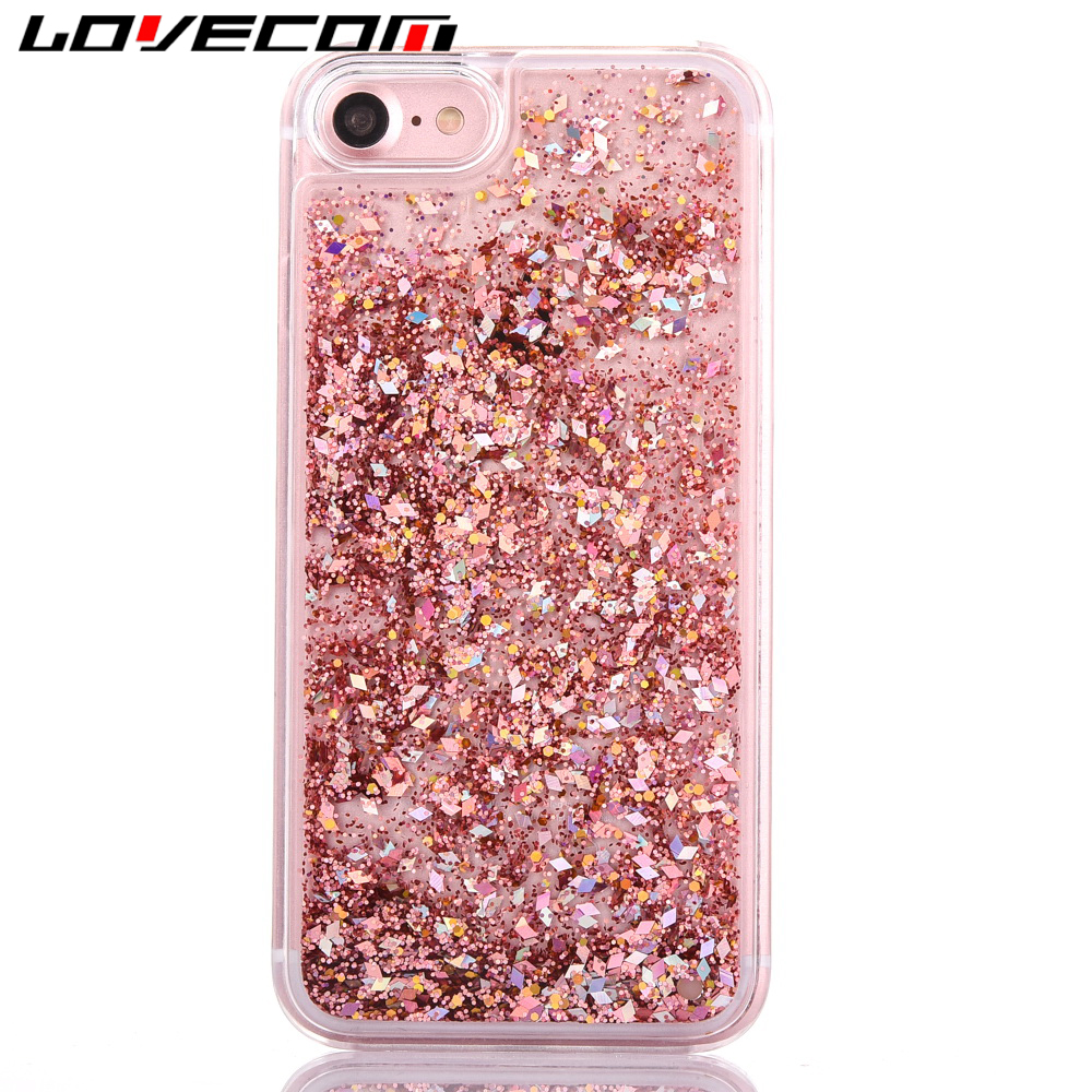 LOVECOM Phone Case For iPhone 7 7 Plus Dynamic Liquid Glitter Colorful Paillette Sand Quicksand Hard Back Cover Coque