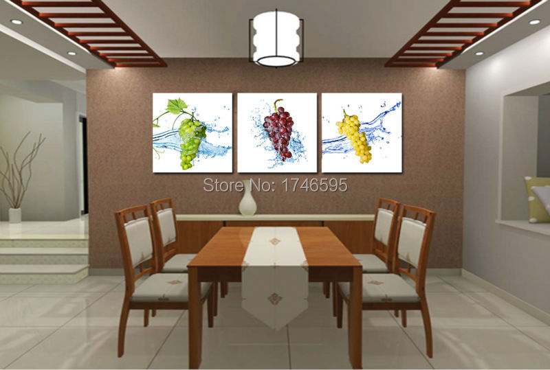 Big 3pieces Modern Home Wall Decoration Grape Fruit Restaurant Dining Room Art Decor Picture Canvas Print Painting In Calligraphy