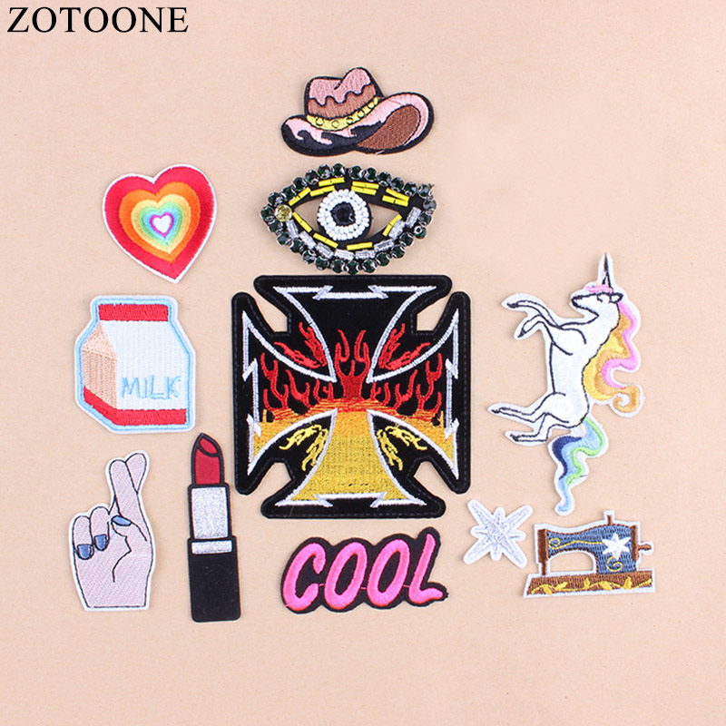 Punk Eye Patch Clothes Stickers For Kids Finger Lipstick Patches Clothing Iron On Unicorn Jeans Diamond A1