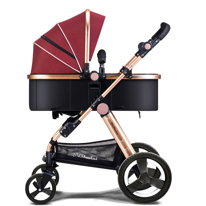 Four Seasons High Landscape Baby Strollers Sit Folding Children 's Trolley Can Lie Down Breathable Pushchairs For Kids Poussette s lie sne