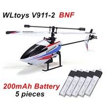 Free Shipping WLtoys V911 V2 BNF V911-2 RC Helicopter + 5 pieces * 200mAh Battery for V911 V911-2 V911-2 without transmitter