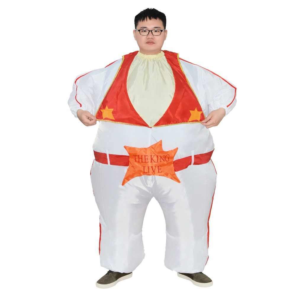 Disfraz inflable Elvis Presley para mujeres, hombres y adultos, traje de Halloween, vestido de Carnaval de fiesta de cantante de Rey del Rock y rollo