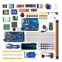 Kit pour arduino uno avec ligne mega 2560 / lcd1602 / hc sr04 /dupont dans une boîte en plastique
