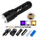 Фонарик для дайвинга  светодиодный перезаряжаемый 395 УФ-фонарик  фонарь для подводного освещения xml t6 l2 18650 26650 AAA батарея  велосипедный фонар...