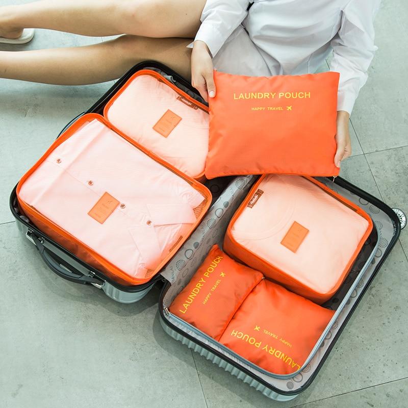 Hot Sale OEM Travel Organizer Storage Bag Set Clothes Organizer Bags Pouch Suitcase Home Closet Bags For Storage 6 PCS Dropship