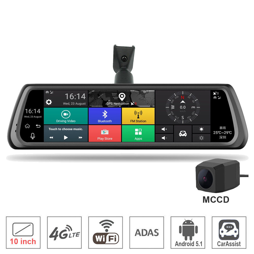 10 Full Touch IPS Car DVR Camera Rearview Mirror GPS Navigation Dual Lens Automobile WIFI Android 5.1 4G Network Video Recorder hot sale android 5 0 car dvr wireless 3g wcdma b1 2100 dual lens camera rearview mirror gps navigation 7 0 ips touch screen