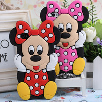 3D Cute Cartoon Lovely Minnie Mickey Mouse Silicon Back Cover Cases For Apple Iphone 6 6S