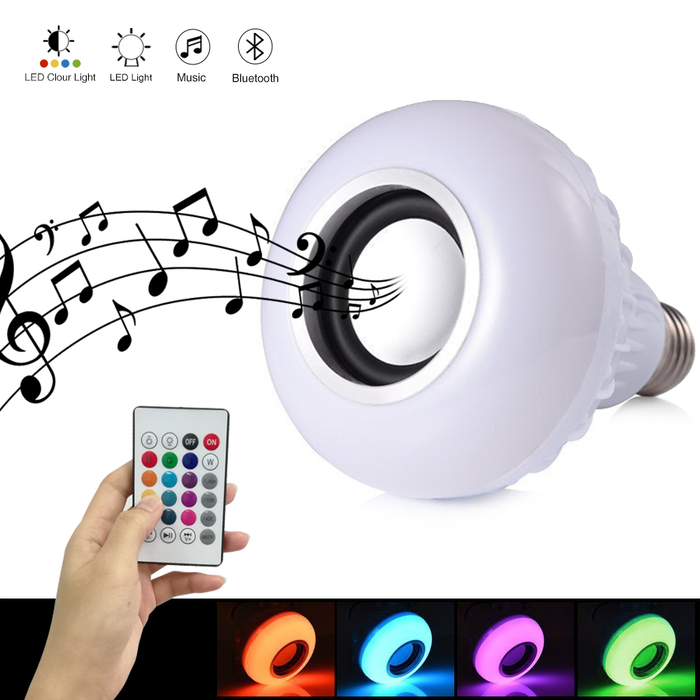 E27 LED Light Bulbs RGB Smart Music Light Bulb Dimmable with Built-in Bluetooth Speaker Remote Control for Home Party Decorative lightme smart e27 light bulb intelligent colorful led lamp bluetooth 3 0 speaker for home stage energy saving led light bulbs