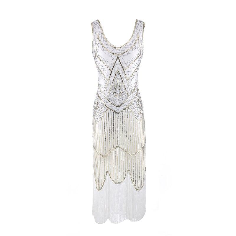 ... Women Party Dress Robe Femme 1920s Great Gatsby Flapper Sequin Fringe  Midi Dress Vestido Summer Art ... 7d34f878c02d