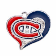 Skyrim 10pcs Zinc Alloy Heart Shape Canadiens team canada hocke Single Side Enamel Charms High Quality Sporty Pendant for Women(China)