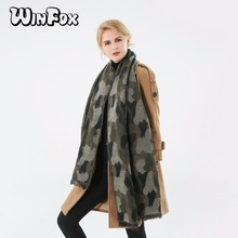 Winfox 2018 New Brand Winter Fashion Army Green Camouflage Scarf Camo Shawl Pashmina Foulard Femme Womens