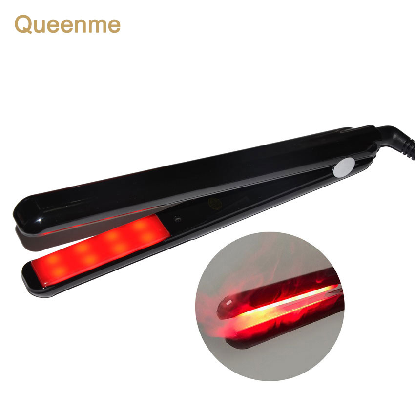 QUEENME Ultrasonic Infrared Cuidados Com Os Cabelos de Ferro Recupera O Cabelo Danificado Display LCD Tratamento de Cabelo Styler Alisador de Ferro Frio