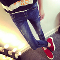 Maternity pants spring and autumn maternity jeans trousers fashion hole slim belly pants pencil pants summer