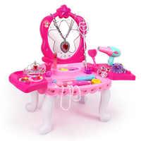 Filles princesse coiffeuse maquillage ensemble beauté semblant jouer jouets enfants anniversaire cadeau boîte cadeau fille jouets