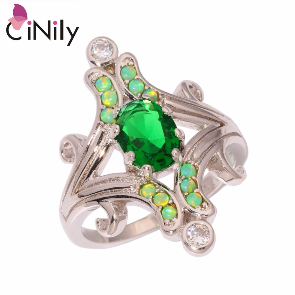 CiNily Created Green Fire Opal Green Zircon Cubic Zirconia Silver Plated Wholesale for Women Jewelry Ring