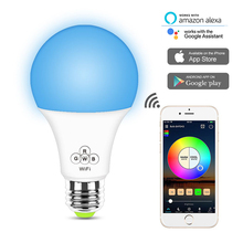 LED E27 Wireless Bluetooth Smart Bulb RGBW Light Music Control 20 Modes Work With  Amazon Alexa Google Home IOS/Android