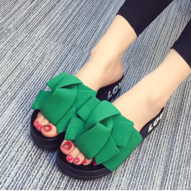 2018 Fashion Slides Women Summer Sandals Chinelo Lovely butterfly-knot Beach Shoes Rihanna Casual Flip Flops