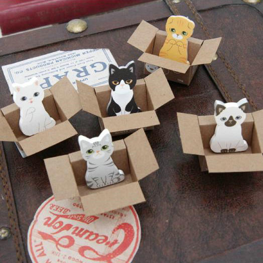 hot sale!kawaii stationery cat sticky memo pad/cute animal sticky note/office post-it note/scrapbook sticker 5pcs/lot