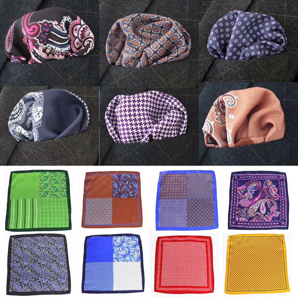 RBOCOTT Men's Printed Handkerchief Novelty Paisley Dot Solid Floral Patchwork Soft Pocket Square 25cm*25cm Red Blue Green Gray