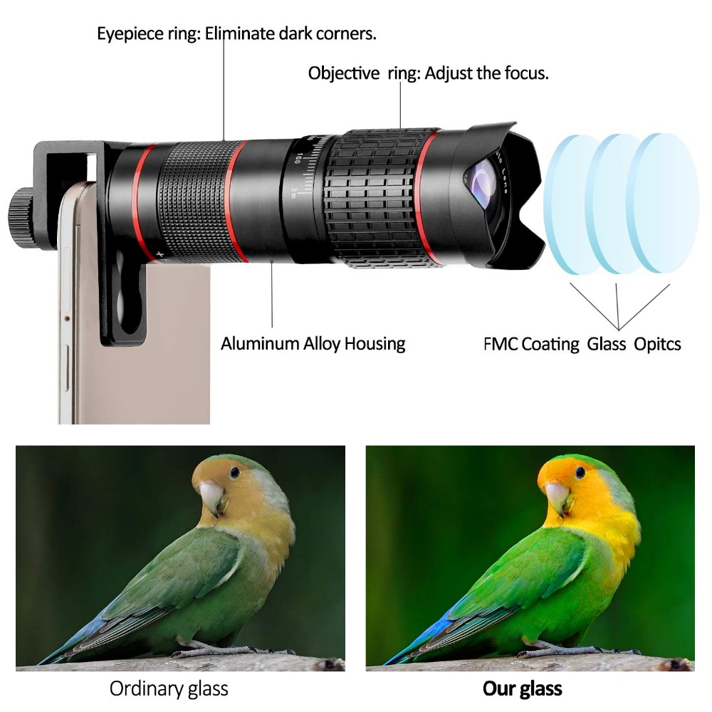 Phone Camera Lens, 5 in 1 iPhone Zoom Lens Kit 15X Telephoto Lens + Wide Angle + Fisheye + Macro Lens (2 Lens) Compatible With iPhone Samsung Android And Most Smartphones 1
