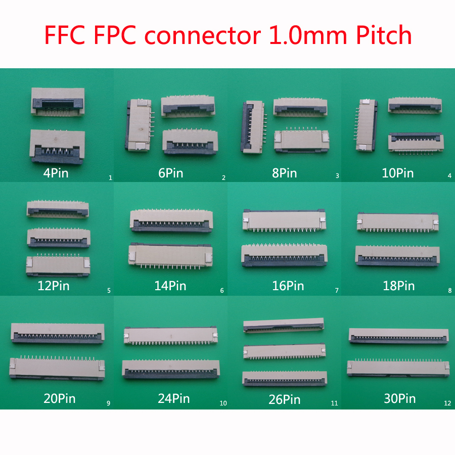10Pcs FPC FFC 1mm 1.0mm Pitch 12 Pin Drawer Flat Cable Connector Top Contact