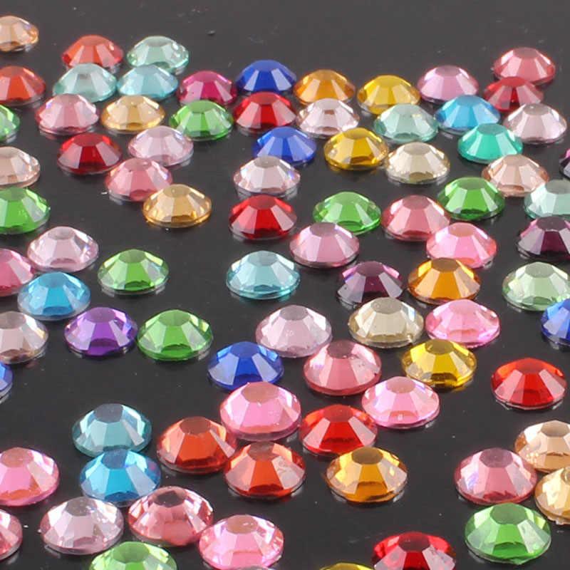 2-6mm 1000 Uds arte de uñas diamantes de imitación para decoración Cristal de diamantes de imitación de cristal claro AB no Hotfix Flatback Rhinestoens ropa teléfono E
