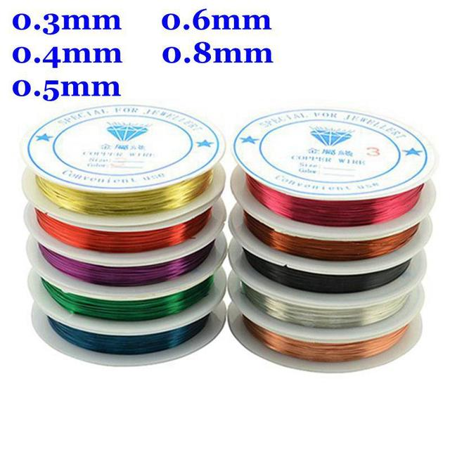 Free Shipping 10rolls/lot Mixed Color Beading Copper Wire 0.3/0.4/0.5/0.6/0.8MM Pick For Jewelry Making DIY