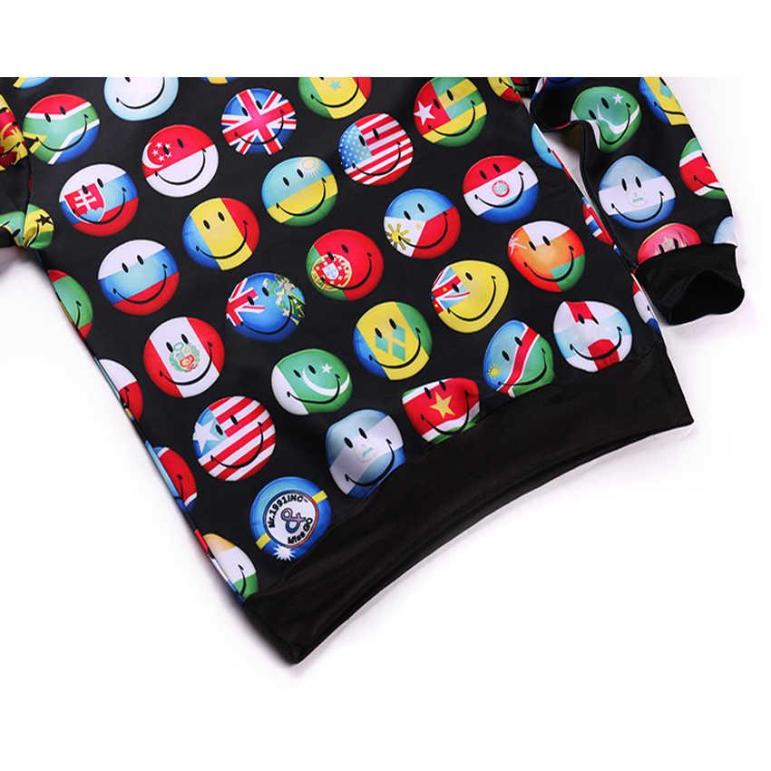 Mr.1991 אופנה נוער 3D emoji דגל מודפס נים בני נוער בנים סתיו האביב דק חולצות ילדים גדולים ספורט jogger W15