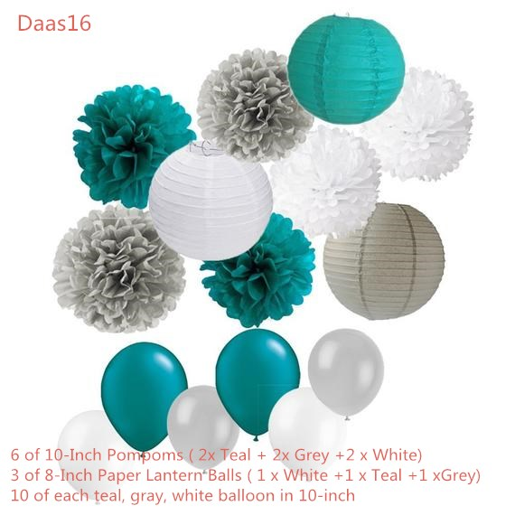 39PCS Teal Gray Baby Boy Shower Party Mixed Tissue Pom Poms Paper Lantern Balloons For 1st Birlthday Wedding Shower Nursery Deco
