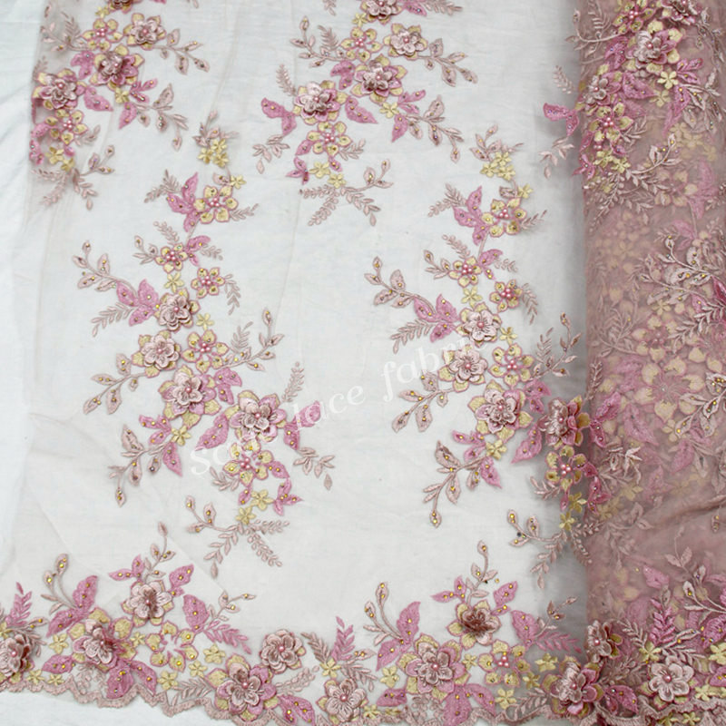 New arrival tiul z haftem Mesh kwiat francuski koronki netto tkanina z koralikami i kamień wysokiej jakości RG970 w Koronka od Dom i ogród na  Grupa 1