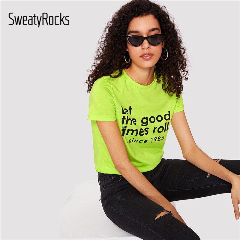 3efd31480 SweatyRocks Slogan Print Neon Short Sleeve T-shirt Streetwear Preppy Green  Leisure Tees 2019 Summer