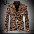 Moda Para Hombre de la Chaqueta Floral Flaco de Oro Lentejuelas Desgaste de la Etapa Cantante De Patrón Impreso Vides Hombres Chaqueta Chaqueta de Traje Homme M-4XL