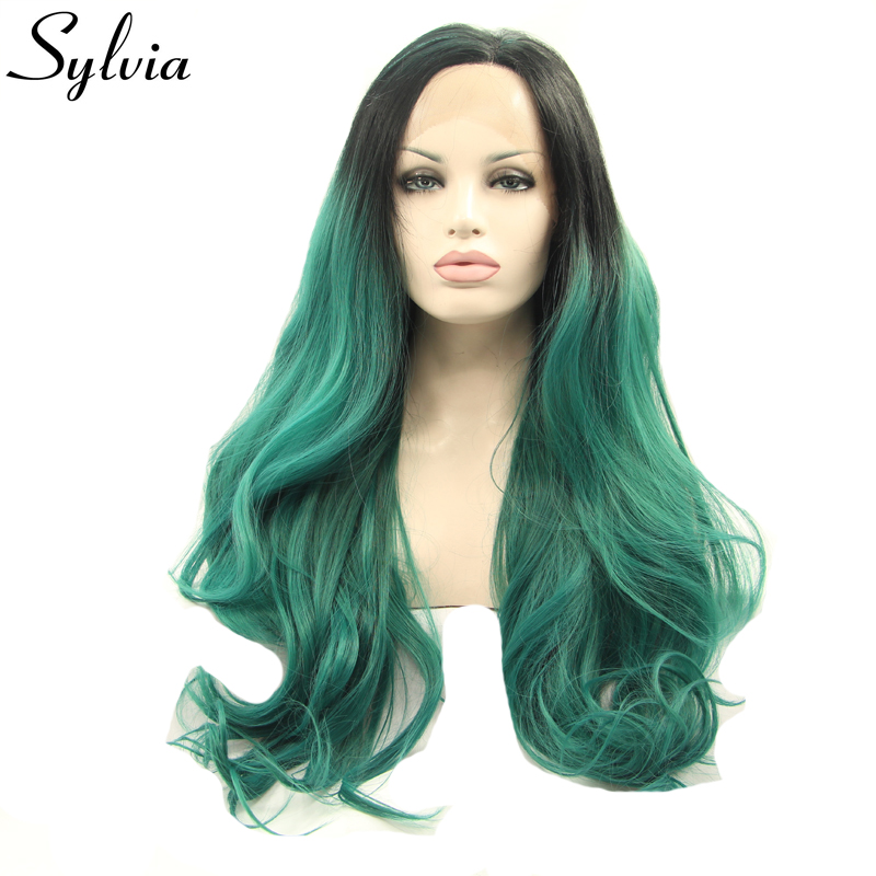 sylvia black to green ombre loose wave synthetic lace front wigs green heat resistant fi ...