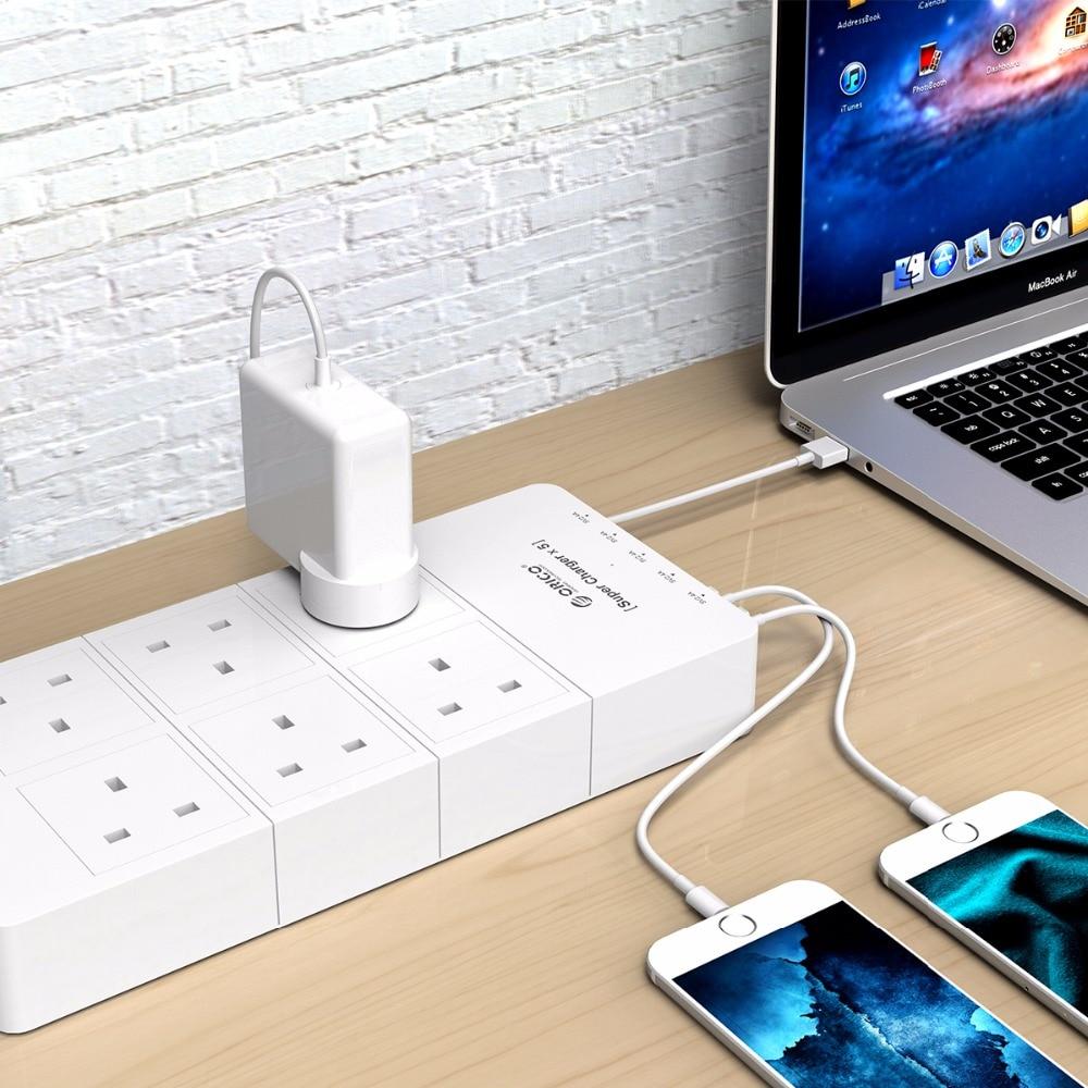 ORICO multiprise Home Office UK prise USB chargeur de voyage adaptateur avec 6 prises multiprise parafoudre 5 pieds cordon d'alimentation - 6