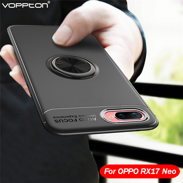 Voppton For OPPO RX17 Neo Case Metal Finger Ring Holder Soft Silicone TPU Back Cover For OPPO RX 17 neo Case Shockproof