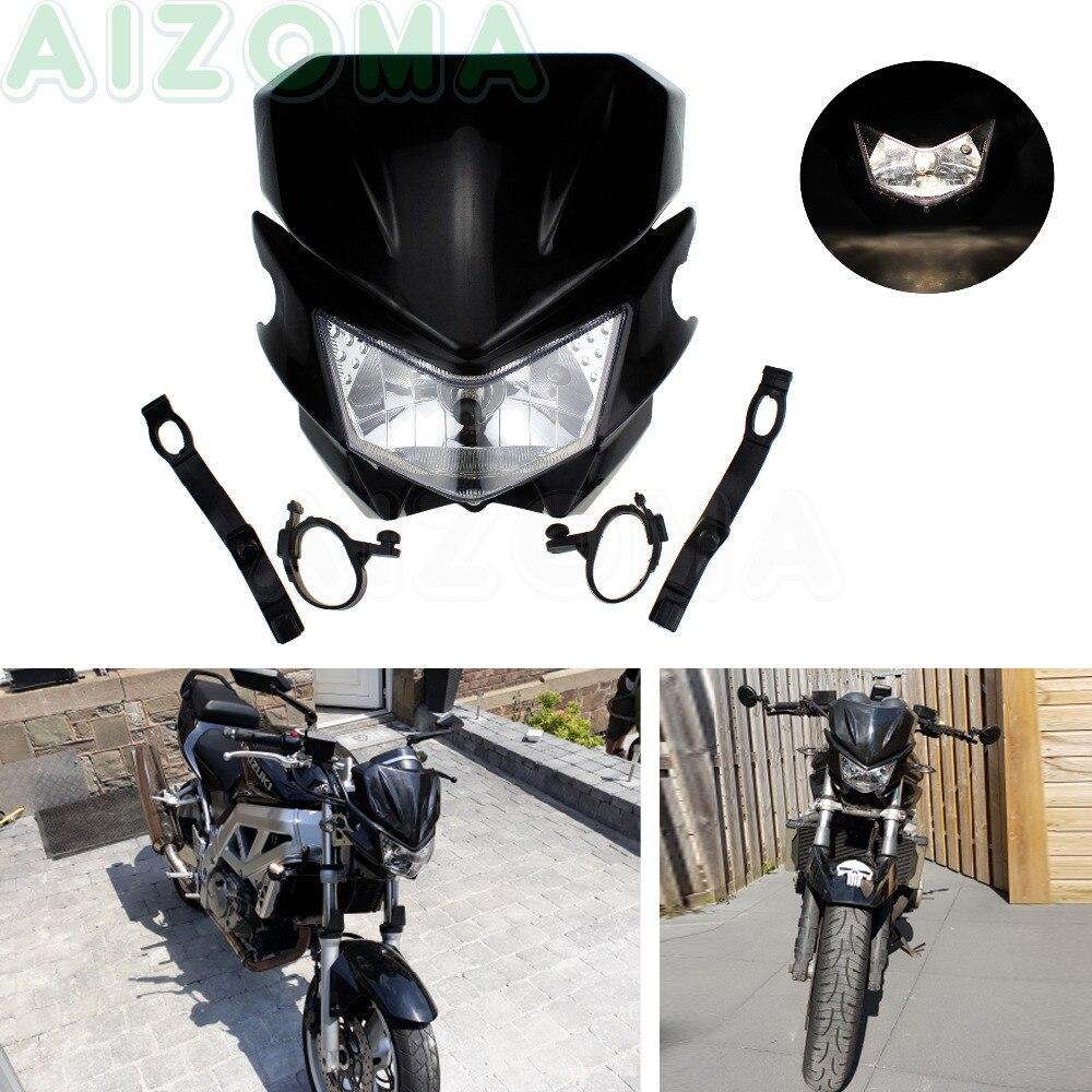 Street Bike Motorcycle Headlight Front Head Lamp Fairing Black For Honda Suzuki Kawasaki KSR KLX KLR KX 110 125 150 250 650 - title=