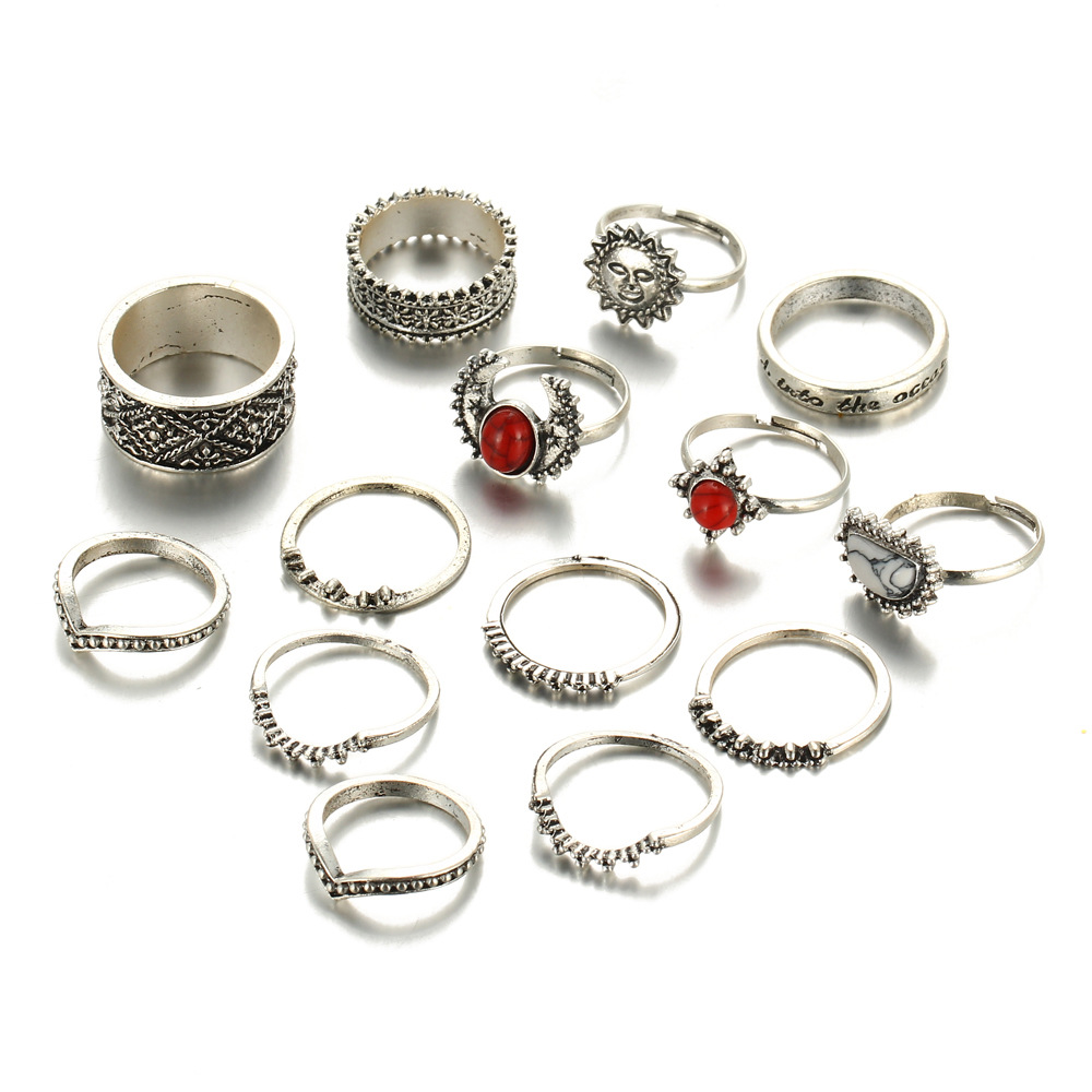 Sun Moon Knuckle Rings Set Red Stone White Beads Antique Silver Color Carved Flower Mid Finger Ring Jewelry Accessories 14 pcs