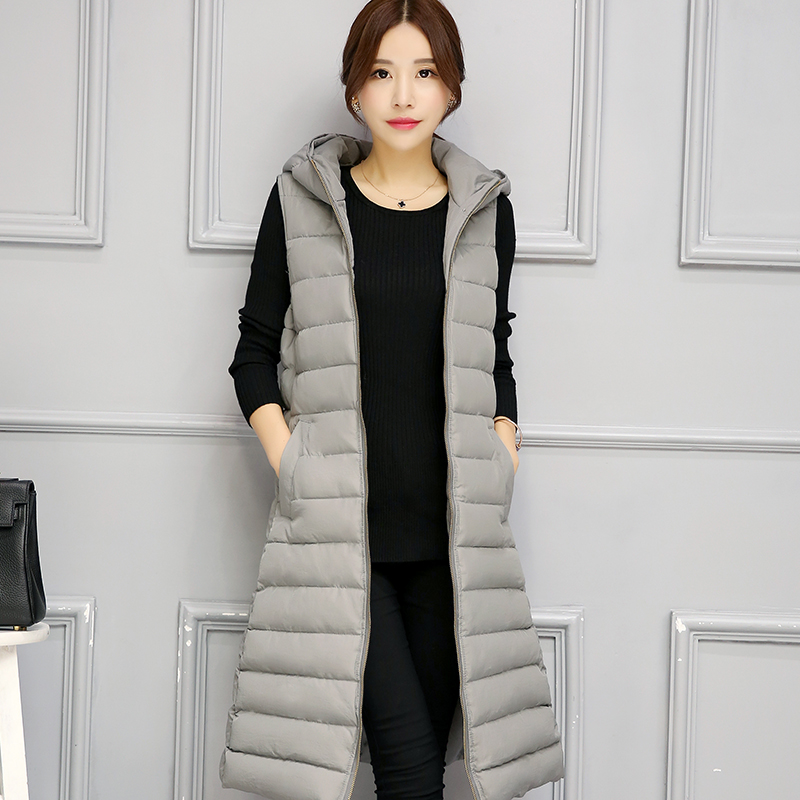 New 2017 Autumn Winter Warm Outerwear Long Overcoat Women Fashion Slim Hooded Parkas Cotton-padded Coats Vests women parkas 2016 fashion ladies big fur hooded slim thicken outerwear winter coats women cotton padded warm overcoat a4507
