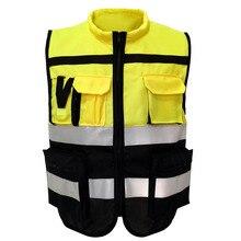 אפוד רעיוני נראות גבוהות אזהרת בטיחות אפוד ניאון בגדי רב כיסים חיצוני אבטחת תנועה בגדי עבודה
