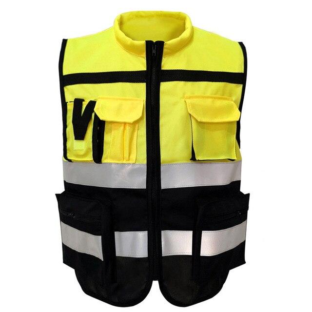 Светоотражающий Жилет высокой видимости, предупреждающий жилет, флуоресцентная одежда с множеством карманов, уличная безопасность, рабочая одежда для дорожного движения