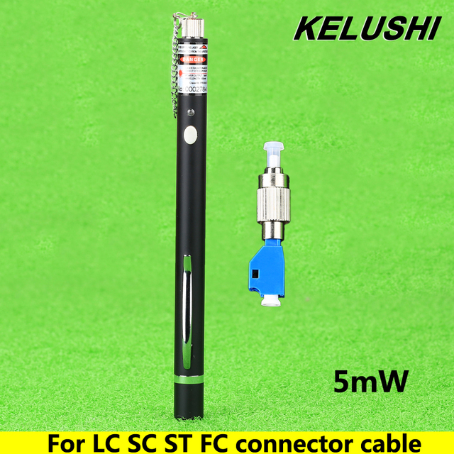 KELUSHI 1mW 1~5km Pen Type Fiber Optic Visual Fault Locator Cable Tester Testing Tool + 2.5mm Universal LC/FC/SC/ST Adapter