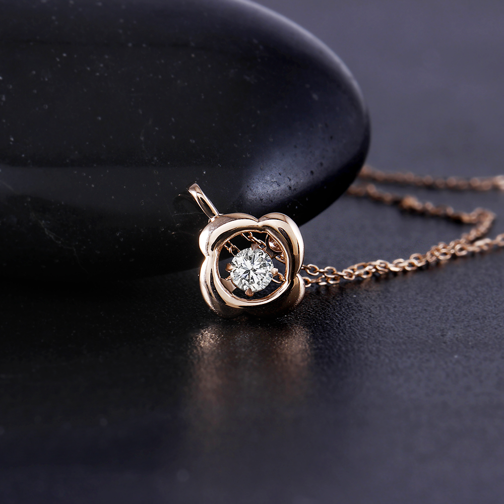 f5dc1f9751de DovEggs 10K Rose Gold 0.1carat Small Diamond Pendant Necklace For Women  Dancing Setting Diamond Link Chain Gold Necklace Jewelry-in Necklaces from  Jewelry ...