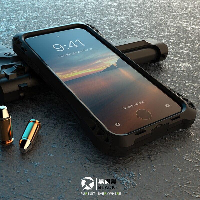 Shockproof Dustproof Carbon Fiber Gorilla Tempered Glass Aluminum Metal Armor Case For Iphone 7 8 6S 6 Plus 5 5S SE Cover Shell