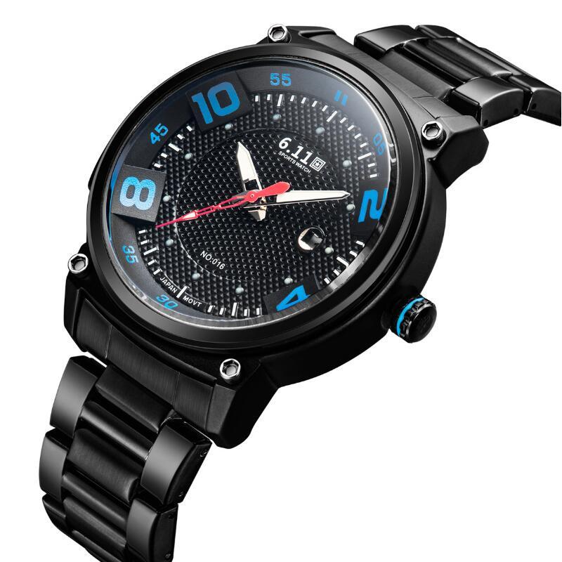 6.11 Mens 2019 Fashion Full Steel Magic Blue Glass Solar-powered Watch Clock Army Military Outdoor Quartz Watch Men Sport Watch