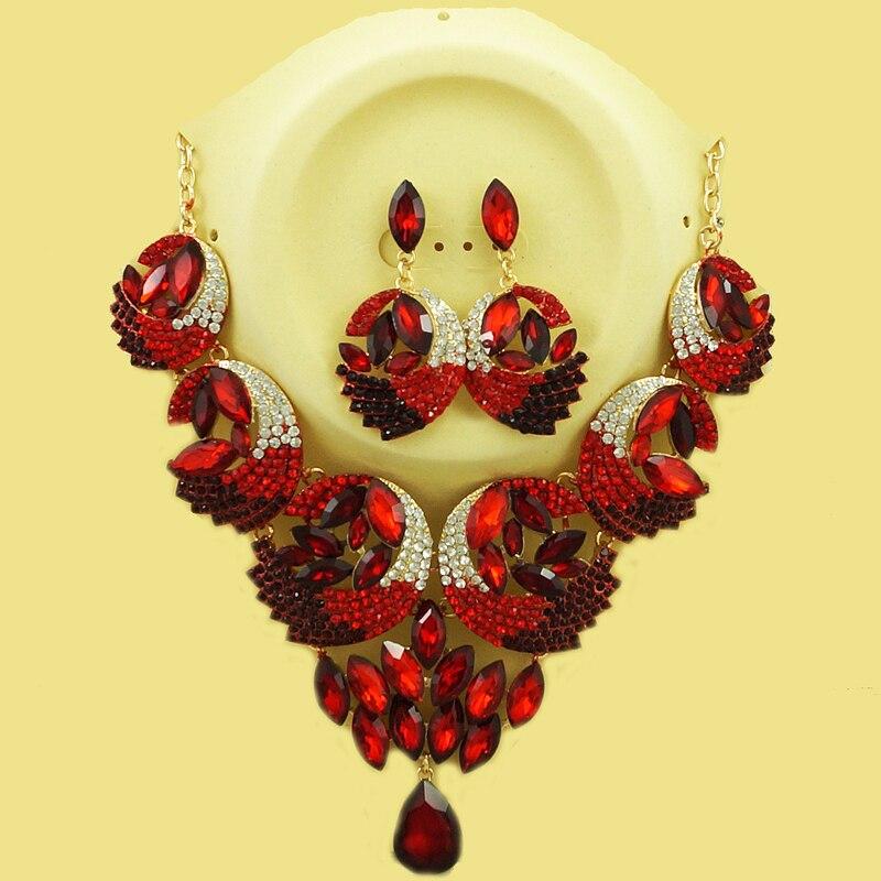 Ensemble de bijoux en or africain beaux ensembles de bijoux femmes grand collier couleurs pierre bijoux boucle d'oreille collier dubai ensembles de bijoux