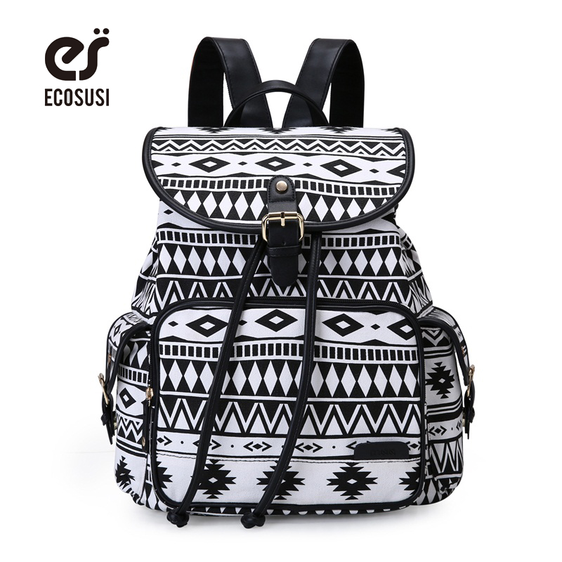 ECOSUSI Women Cute Backpack Canvas School Bag For Teenagers Girls Drawstring Printing Bagpack Sac a Dos
