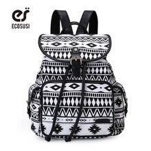 Ecosusi Для женщин милый рюкзак холст школьная сумка для подростков Обувь для девочек Drawstring печати Bagpack SAC DOS Femme рюкзак женский