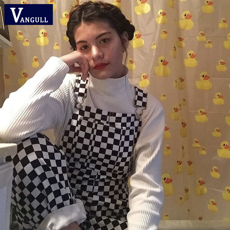 Vangull 3XL 2019 New Retro Hip Hop Black White Plaid Checkerboard Lattice Overalls Women Harajuku Long Pants Jumpsuit Plus Size