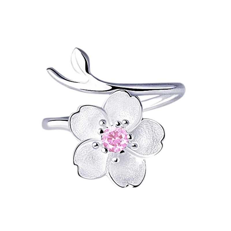 Женское кольцо с хрустальным цветком изгиб размер регулируемые открытые кольца Свадебные украшения для девушек подарок на день рождения розовый